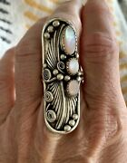 Vintage Signed Rh Sterling .925 And Pink Mother Of Pearl Navajo Knuckle Ring Sz. 9