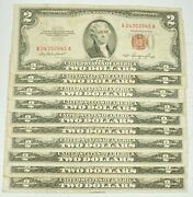 Lot Of 10 1953 A-b Us Red Seal 2 Dollar Paper Currency Fine Grade Notes