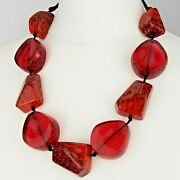 Costume Jewellery Big Red Resin Bead Statement Necklace