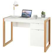 Modern Computer Desk Writing Workstation W/ Cabinet And Drawer Wood Grain White