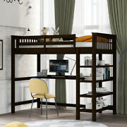 Various Sizes Loft Bed W/ Storage Shelves And Under-bed Desk Saving Space Design