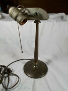 Antique Emeralite Style Table.desk Lamp With Pullchain Socket C1910s