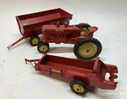 Vtg 3 50's Piece Vintage Tru Scale Red Tractor Manure Spreader And Flare Wagon
