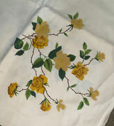 Vintage Wilendur Yellow Rose Flower Tableclothnew Without Packaging