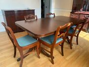 Antique Mahogany Dining Room Set, Table And 6 Chairs, Extension Leaf Included