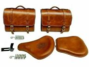 Royal Enfield Classic 500cc 350cc Brown Tan Front And Rear Leather Seats And Bags