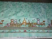 Cat-tales Fabric Mint Green Meow Cats Face Fishing 2 Yds Cotton Sewing Words