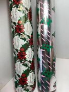 Vtg Commercial Christmas Gift Wrapping Paper Lot Two Rolls Silver Foil Red Angel