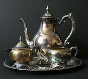 F.b. Rogers Silver Co 1883 Silver On Copper Tea Set And Tray
