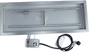 Csa Certified Propane Fire Pit System Kit,36 X 12 Stainless Steel Rectangular