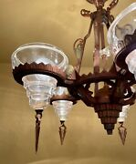 Vintage Lighting 1930s Art Deco Slip Shade Ceiling Fixture And Pair Sconces Wow