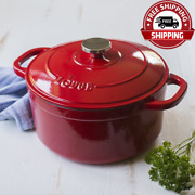 Lodge Enameled Cast Iron 5.5 Quart Dutch Oven, In Red Nice Gift New And Freeship
