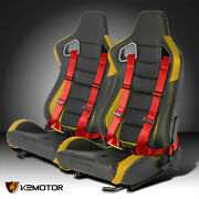 Pair Yellow Pvc Carbon Fiber Look Racing Seats+red 4-point Seat Belts Harness