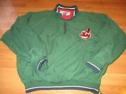 Mens Pro Player Mlb Cleveland Indians Chief Wahoo 1/4 Zip Jacket Size L Large
