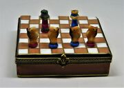 Limoges France Box - Chess Board And 32 Porcelain Pieces - Le 10/500 - Rare
