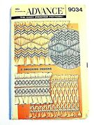 Advance 9034 Smocking Designs 3 For Borders Sewing Pattern Uncut Ff 1950s