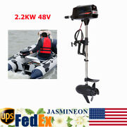 2.2kw 48v Electric Brushless Outboard Motor Inflatable Fish Boat Engine Us Stock