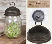 Country Farmhouse Mason Jar Metal Screen Dome Lid Textured Brown Finish Antiqued