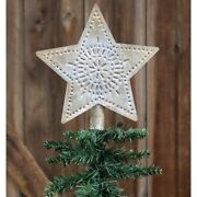 Country Farmhouse Vintage Whitewashed Star Tree Topper 9 Inches