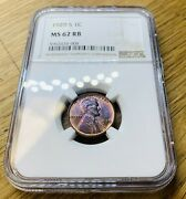 1929-s Lincoln Cent Ms62 Rb Red/brown Ngc Graded Certified Coin