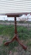 Antique Tripod Table Hand Carved Detailed Wood Rare Leather Old 26x18 Furniture