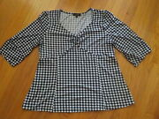 Suzanne Betro 1x Black White Check Plaid Tunic Swing Top Blouse 3/4 Sleeve
