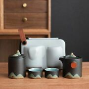 Tea Ceremony Retro Chinese Ceramic Kung Fu Pots With Two Cups Portable Drinkware