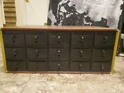 15 Drawer Card Catalog Faux Wood File Cabinet Library Index Vintage