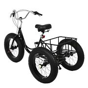 Adult Tricycle 20/24/26 Bike 7speed Trike 3-wheel Bicycle W/basket For Shopping