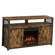 Tv Cabinet With Fireplace, Tv Stand For Tvs Up To 60 Inches, With Barn Doors,
