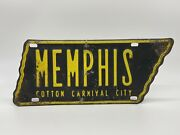 Original 1954 Memphis Cotton Carnival City Tennessee State-shaped License Plate