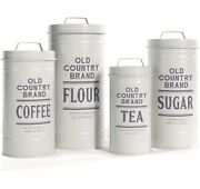 White Metal Rustic Farmhouse Kitchen Canisters/ Back In Stock