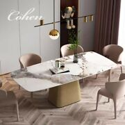 Contemporary 71andrdquo Sintered Stone +stainless Steel Base Dining Table