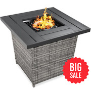 28in Fire Pit Table 50,000 Btu Outdoor Wicker W/ Glass Beads, Cover, Tank Holder