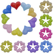 5pcs 2217mm Acrylic Heart Candy Color Single Hole Diy For Jewelry Making Beauty