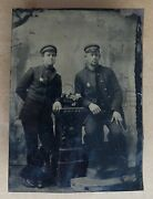 1850's Tintype Photograph Of Two Men In Uniform With Badges Police Railroad