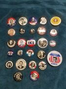 Lot 26 Reproduction Presidential Campaign Political Pinback Button Pins Mix Size