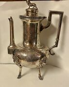 Manning Bowman Teapot Lion Ornament Hinged Lid Figural Women Intricate Etching
