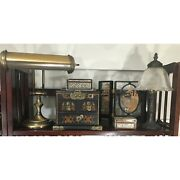 Vintage Desk Lamps Jewelry Wooden Inlay Boxes Trinkets Decorative Glass Screenin