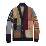 Menand039s Winter Long Sleeve Buttons Cardigan Ethnic Patchwork Coat Fashion Sweater