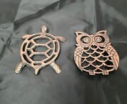 Cast Iron Trivets Owl Turtle 4 X 3 1/2 Lot Of 2 Gold Tone On Top Wall Decor...