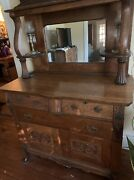 Antique Oak Sideboard Buffet With Carved Details