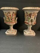 """Capodimonte Porcelain Large Vases Decorative W/ Nude Women And Lions Italy 14"""""""