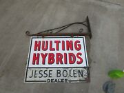 Old Porcelain Hulting Hybrid Seed Corn Sign W Iron Bracket 2 Sided 30 X 18