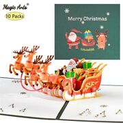 10 Pack Pop-up Card 3d Happy Holidays Greeting Cards New Year Merry Christmas