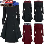 Plus Size Womens Vintage Gothic Long Parka Coat Ladies Winter Trench Jacket Tops