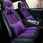 Us Pu Leather 5 Seats Car Seat Covers Waterproof Front+rear Cushions With Pillow