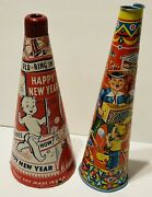 2 Vintage Childrenandrsquos Toy Horns 1 Paper New Year 1 Tin Litho Party Horn As Is