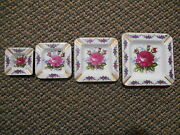 Old Vintage Lot Set 4 Nesting Stackable Matching Ashtrays Purple Pink Flowers
