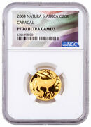 2004 South Africa Natura Caracal 1/4 Oz Gold Proof Ngc Pf70 Uc Flag Label